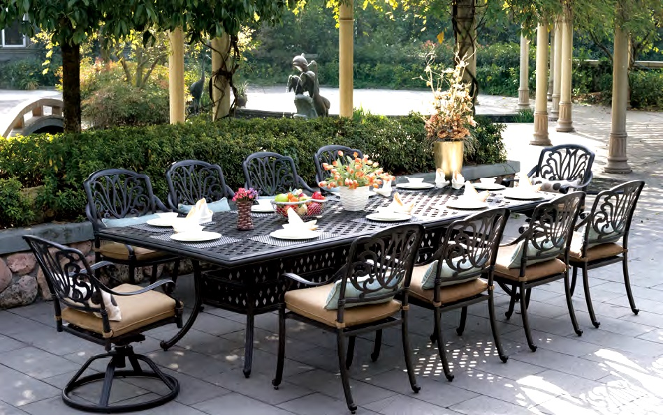 Patio Furniture Dining Set Cast Aluminum 120 Rectangular Table 11 Pc Lisse
