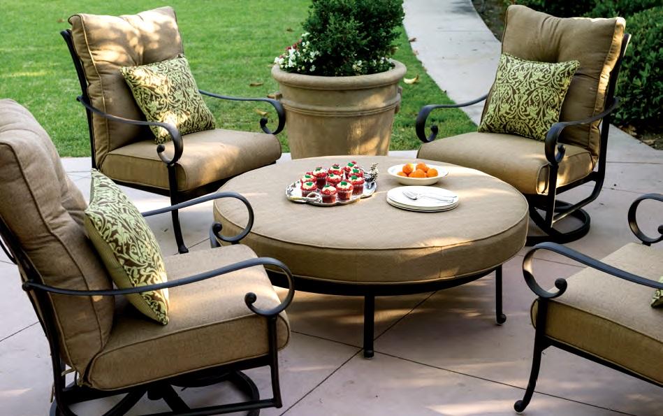 patio furniture deep seating club chair cast aluminum ensemble round ottoman 5pc santa anita