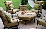 Patio Furniture Deep Seating Club Chair Cast Aluminum Ensemble Round Ottoman 5pc Santa Anita
