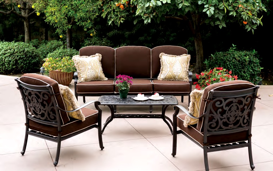 Patio Furniture Deep Seating Chat Group Cast Aluminum 4pc