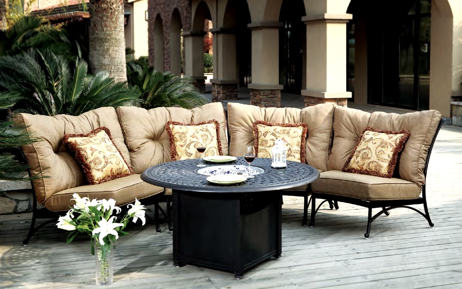 Patio Furniture Deep Seating Sectional Cast Aluminum Set Crescent