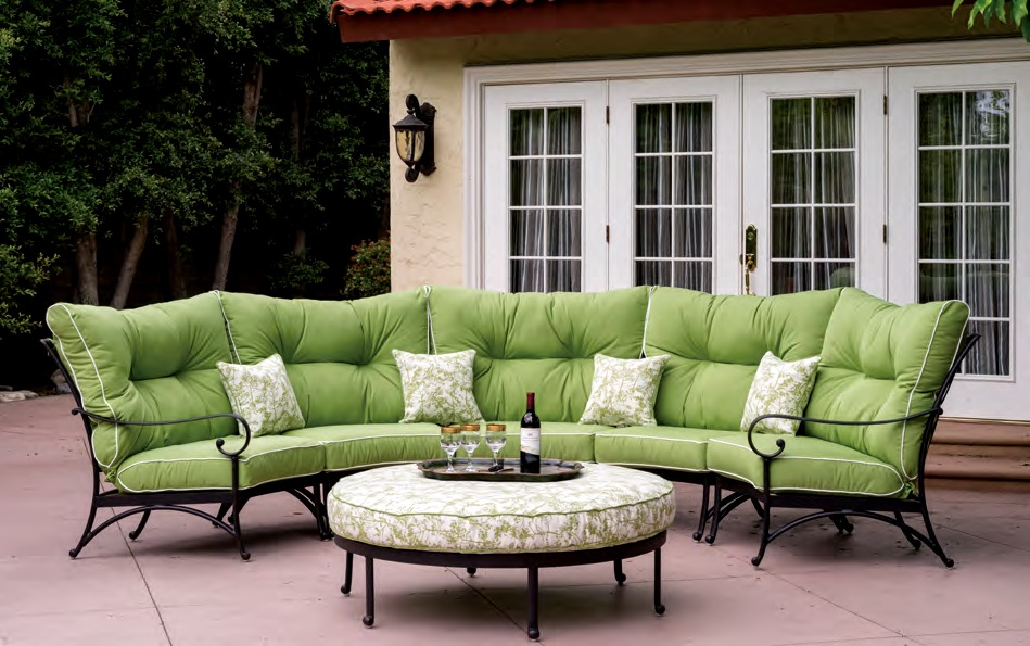 Patio Furniture Deep Seating Sectional Cast Aluminum Set Crescent ...
