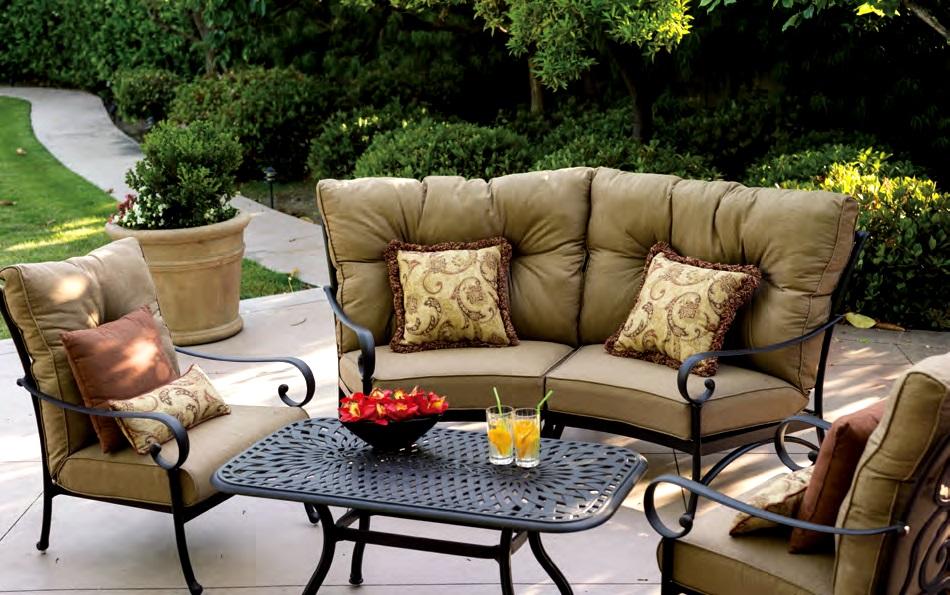 Patio Furniture Deep Seating Sectional Cast Aluminum Set Crescent 5pc Santa  Anita
