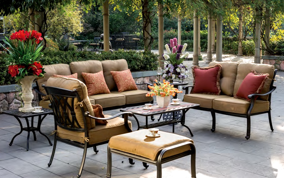 Patio furniture deep seating chat group cast aluminum 7pc for Outdoor furniture qatar living