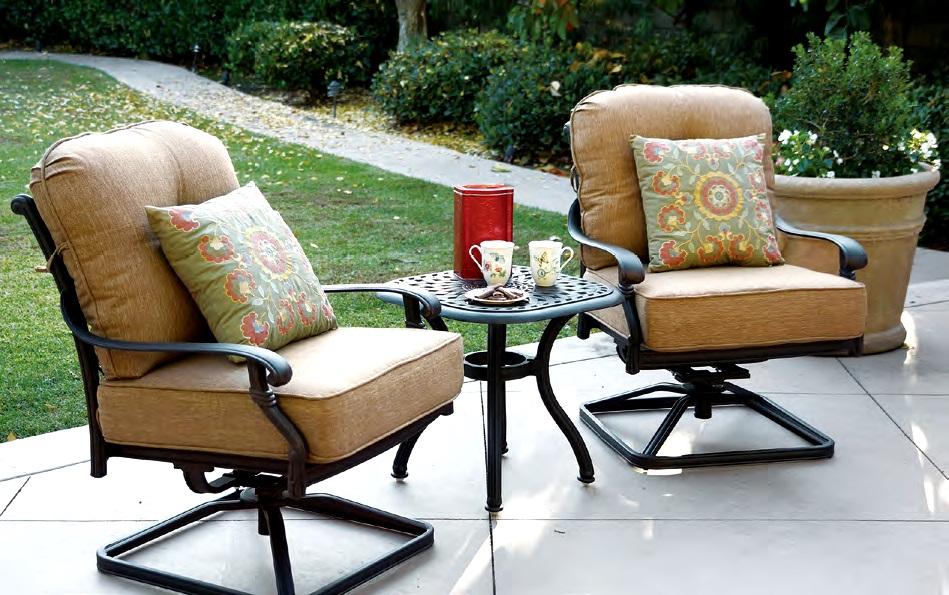 Patio furniture cast aluminum deep seating rocker swivel for Deep seating patio furniture
