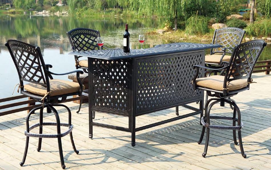 patio furniture party bar cast aluminum bar stool set 5pc