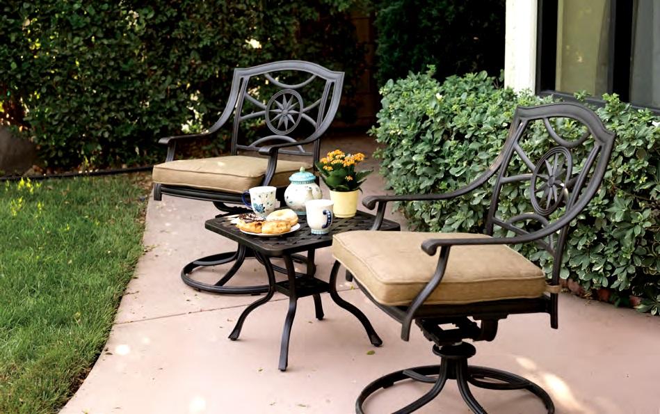patio furniture rocker swivel cast aluminum chair set 3pc ten star