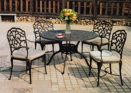 Patio Furniture Dining Set Cast Aluminum 48 Quot Table 5pc