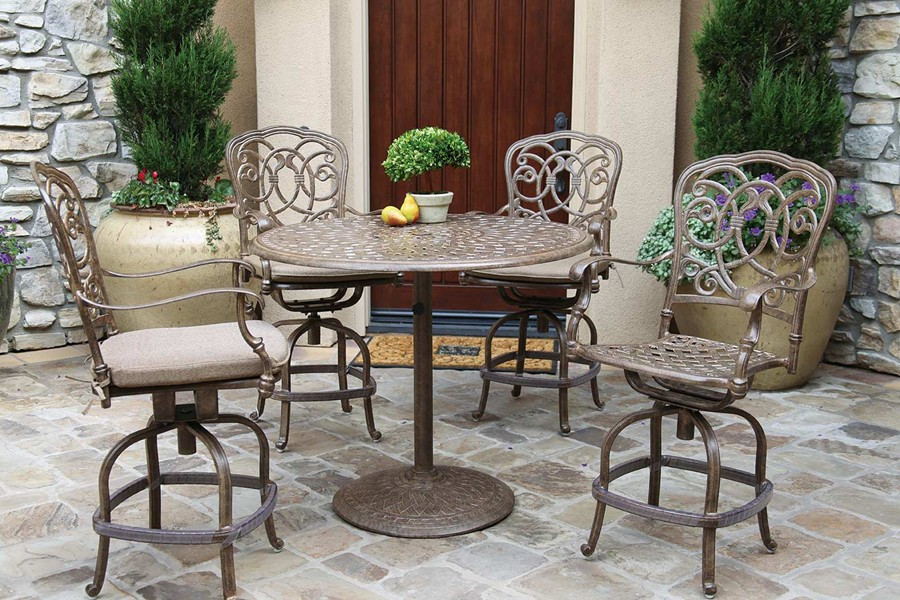 patio furniture dining set cast aluminum 42 round pedestal pub table