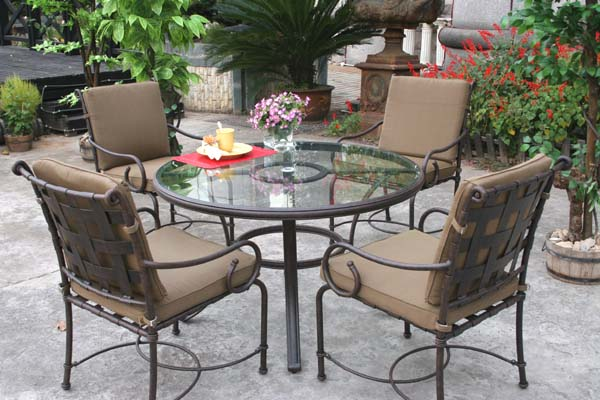 """Round Glass Dining Table 48 Inches: Patio Furniture Dining Set Cast Aluminum 48"""" Round Glass"""