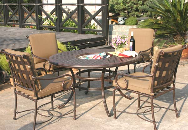 Patio Furniture Dining Set Cast Aluminum 52 Round Table W Ice Bucket