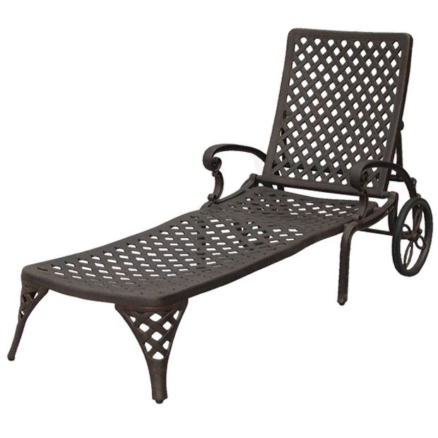 Patio furniture chaise lounge cast aluminum nassau for Cast aluminum chaise lounge
