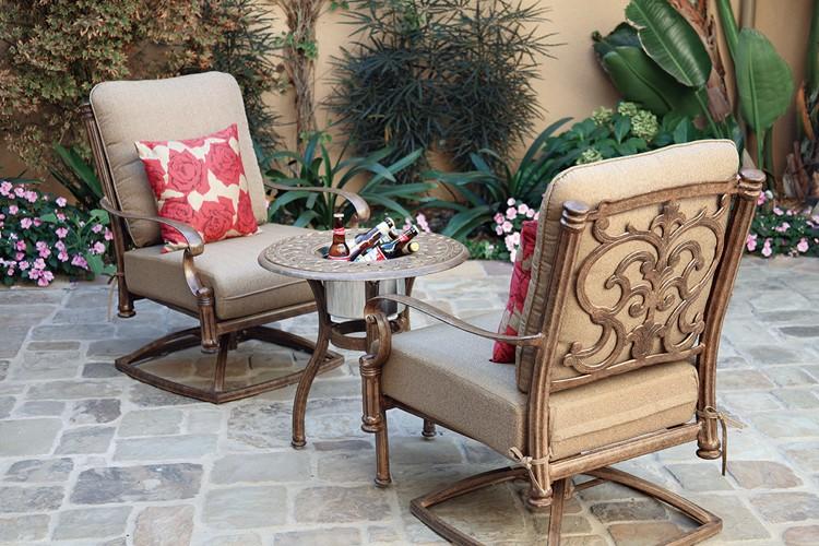 Patio Furniture Deep Seating Ensemble Cast Aluminum 3pc Santa Barbara