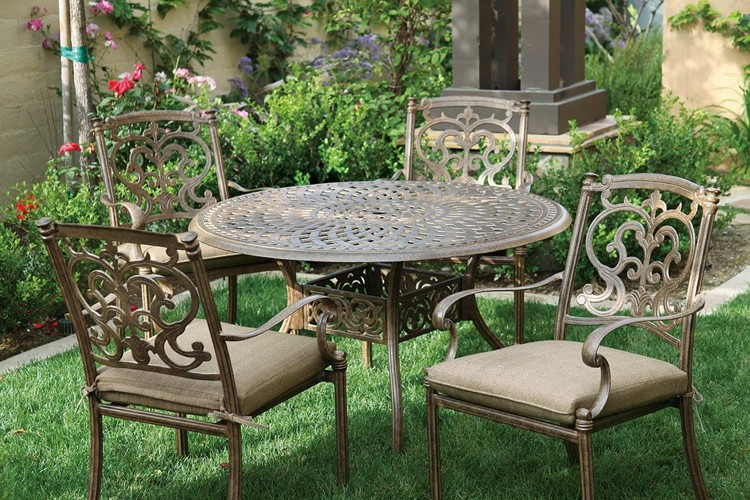Patio Furniture Dining Set Cast Aluminum 48 Round Table 5pc Santa Barbara
