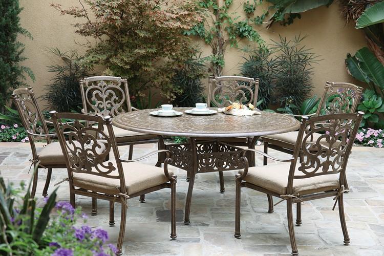 """Patio Furniture Dining Set Cast Aluminum 59"""" Round Table"""
