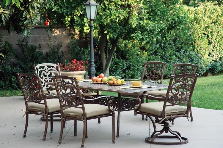 """Patio Furniture Dining Set Cast Aluminum 72"""" Rectangualr"""