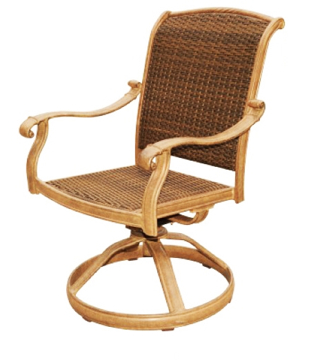 Patio Furniture Aluminum Wicker Rocker Swivel Arm Chair