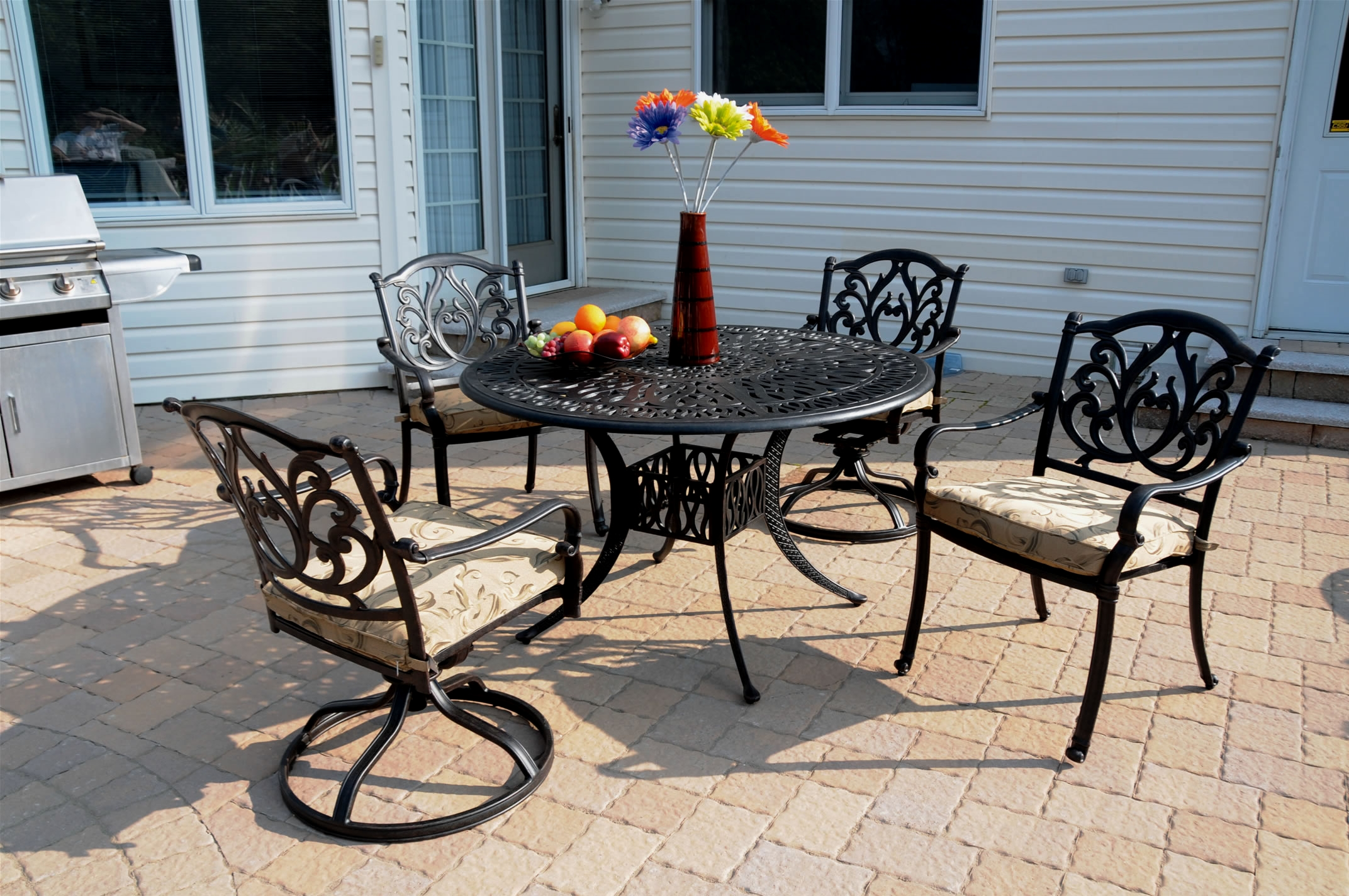 Patio Furniture Dining Set Cast Aluminum 5pc Phoenix