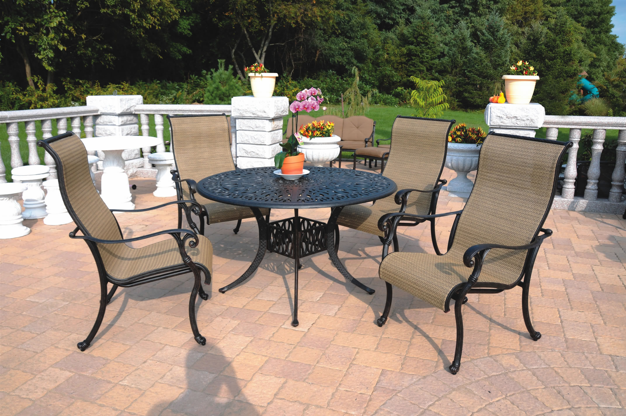 Patio Furniture Cast Aluminum Sling Dining Set 48 Table