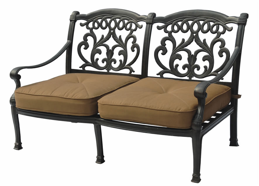 Patio furniture cast aluminum deep seating love seat valencia for Deep seating outdoor furniture