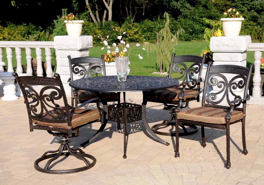 Patio Furniture Dining Set Cast Aluminum 5pc Monarch
