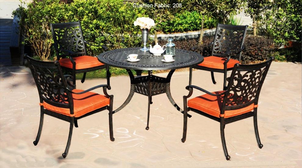 patio furniture dining set cast aluminum 5pc oxford