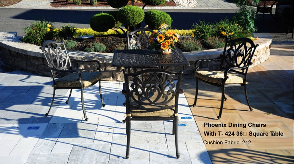 dining sets patio furniture dining set cast aluminum 5pc phoenix