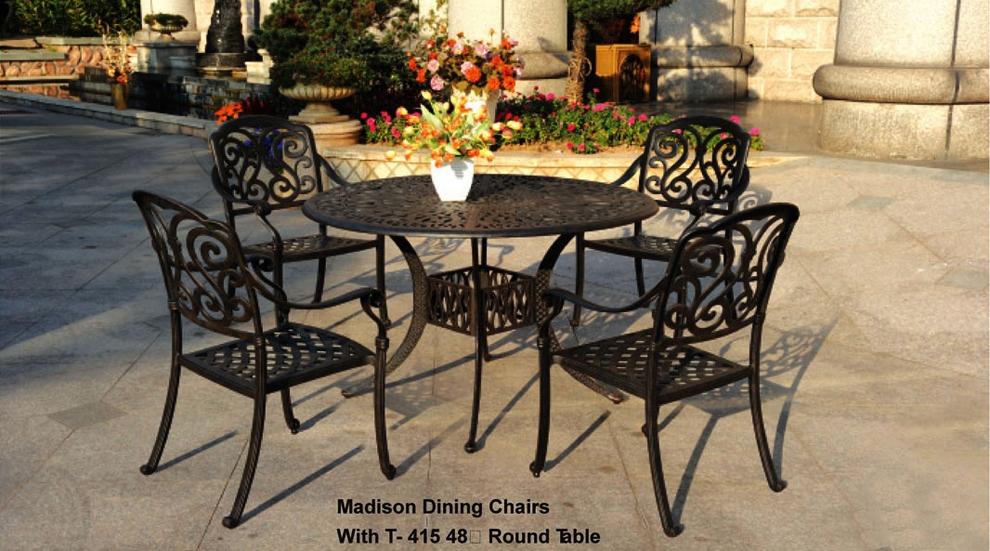 patio furniture dining set cast aluminum 5pc madison