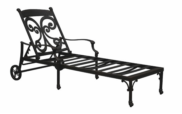 Patio furniture chaise lounge cast aluminum monarch for Cast aluminum outdoor chaise lounge