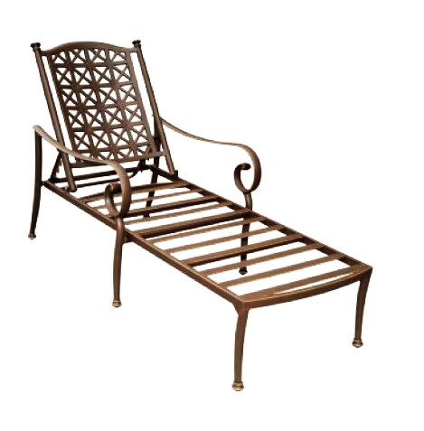Patio furniture chaise lounge cast aluminum exeter for Cast aluminum chaise