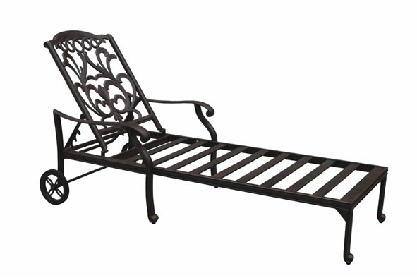 Patio furniture chaise lounge cast aluminum valencia for Cast aluminum outdoor chaise lounge