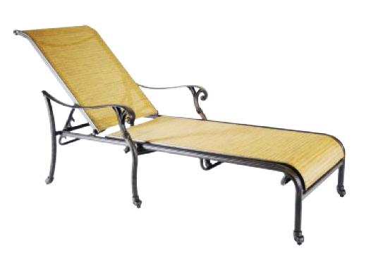 Patio furniture cast aluminum sling chaise lounge summit for Cast aluminum outdoor chaise lounge
