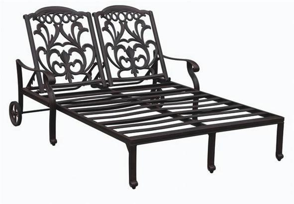 Patio furniture cast aluminum double chaise lounge valencia for Cast aluminum outdoor chaise lounge