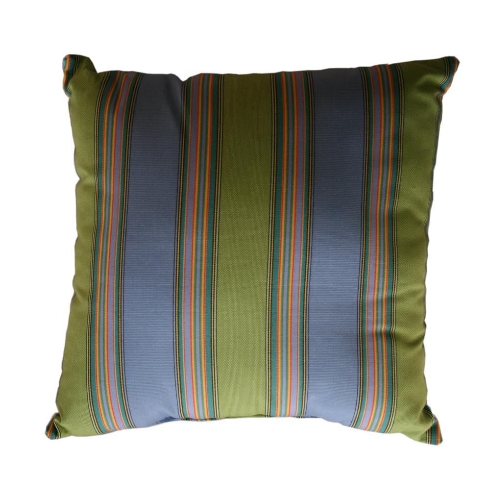 """Throw Pillow Indoor Outdoor 17"""" Square Sunbrella Stripe"""