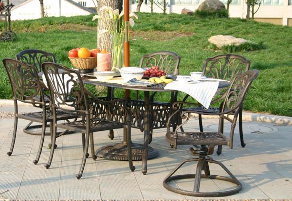 "Patio Furniture Dining Set Cast Aluminum 84"" Oval Table"