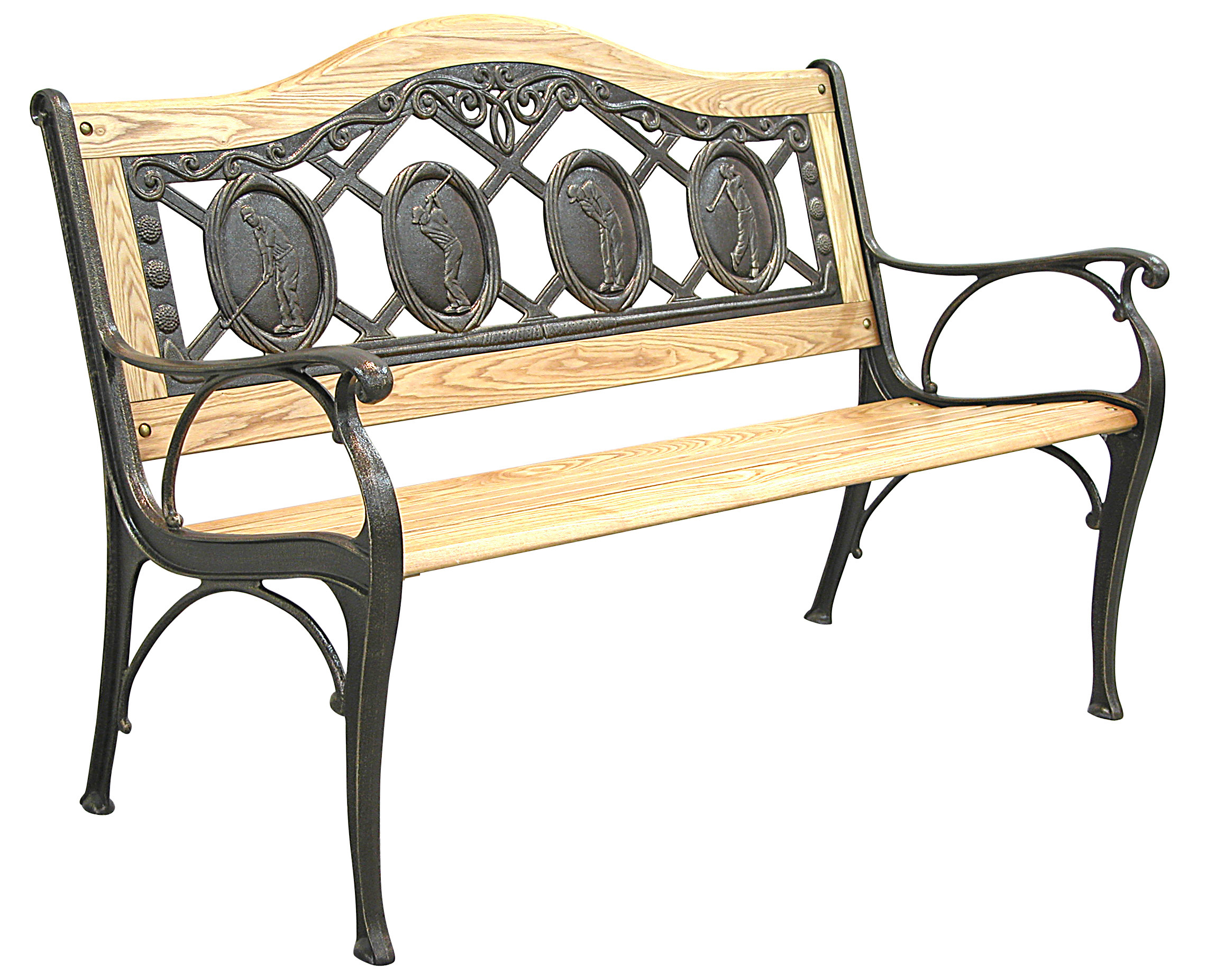 Patio furniture bench traditional cast iron golfer for Outdoor furniture bench