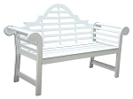 Patio Furniture Bench Cast Aluminum 5-ft Lutyens White
