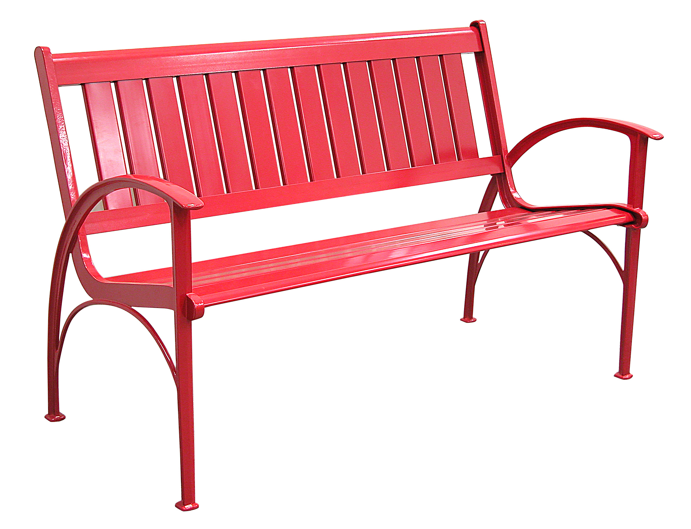Patio furniture bench contemporary cast aluminum red for Metal benches for outdoors