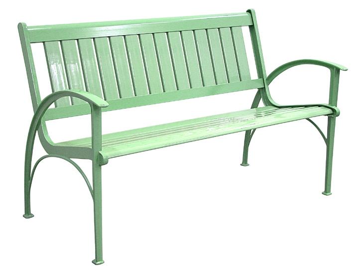 Patio Furniture Bench Contemporary Cast Aluminum Mint