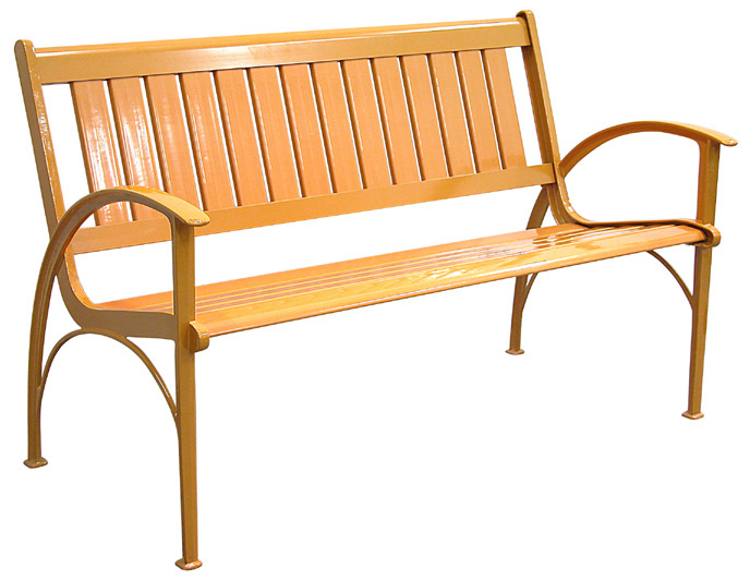 Patio Furniture Bench Contemporary Cast Aluminum Orange