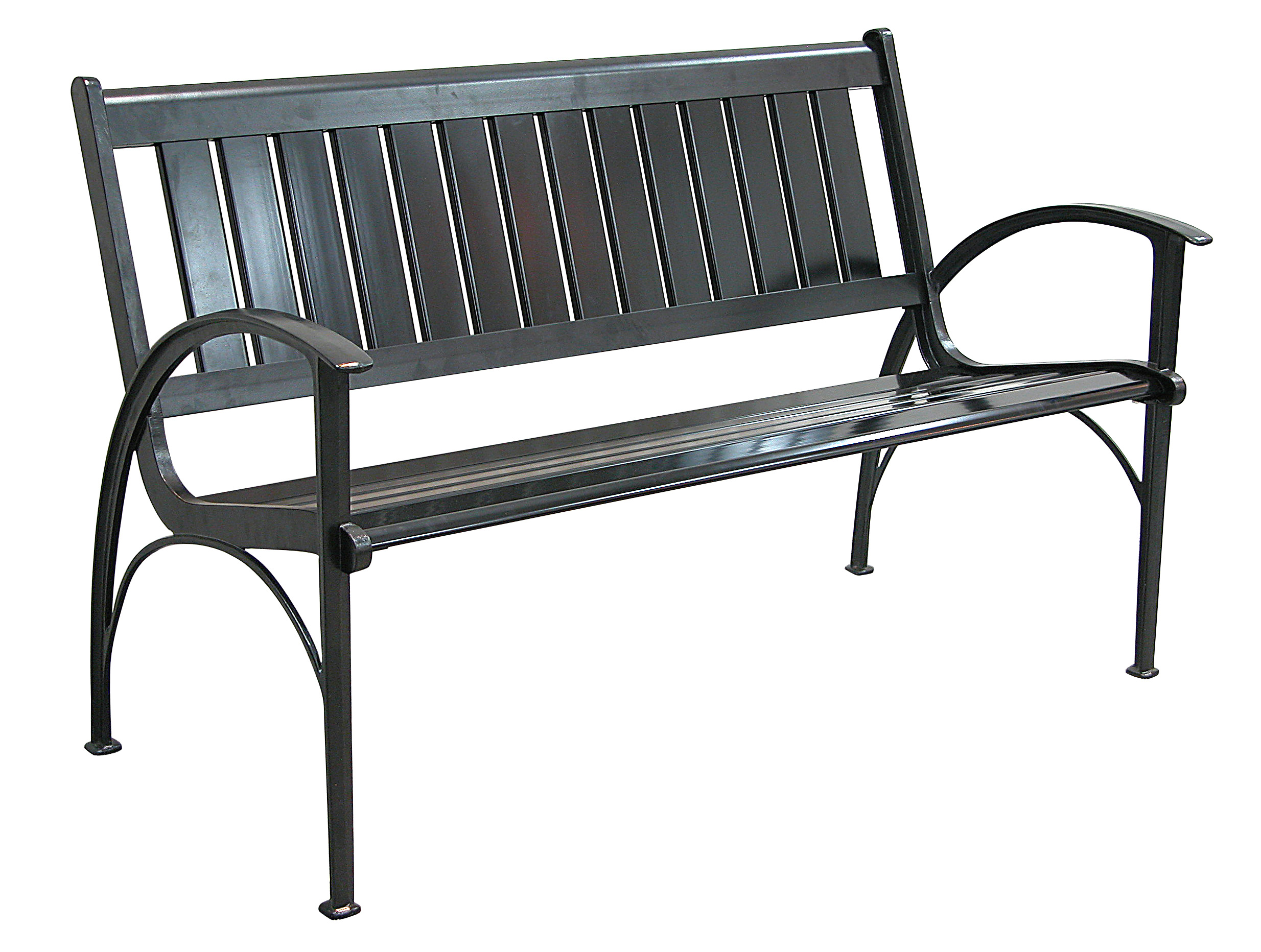 Patio furniture bench contemporary cast aluminum black for Outdoor furniture benches