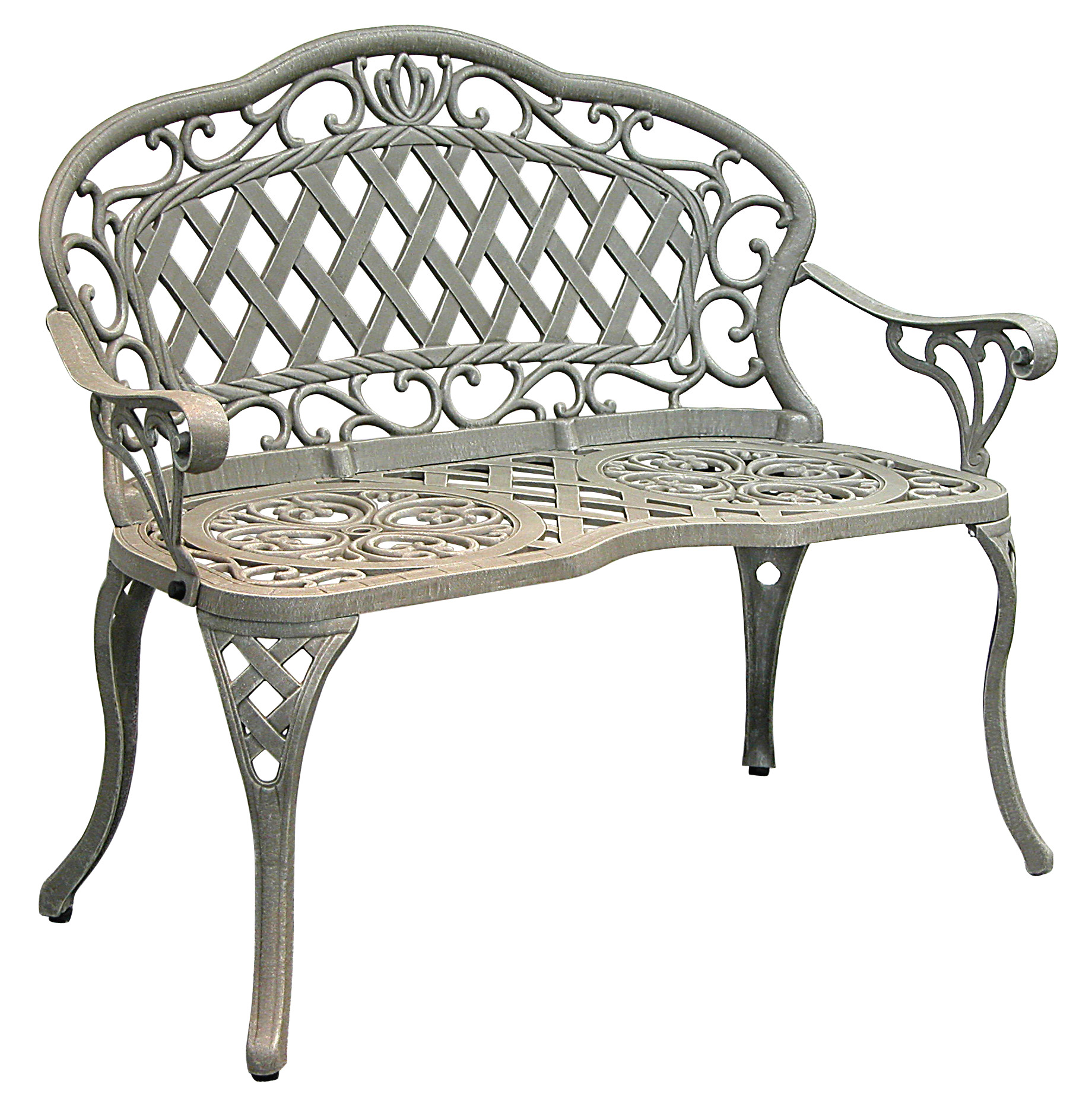 Patio furniture bench cast aluminum iron loveseat regis for Outdoor furniture benches