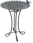 Birdbath with Wire Stand Cast Aluminum Sunflower