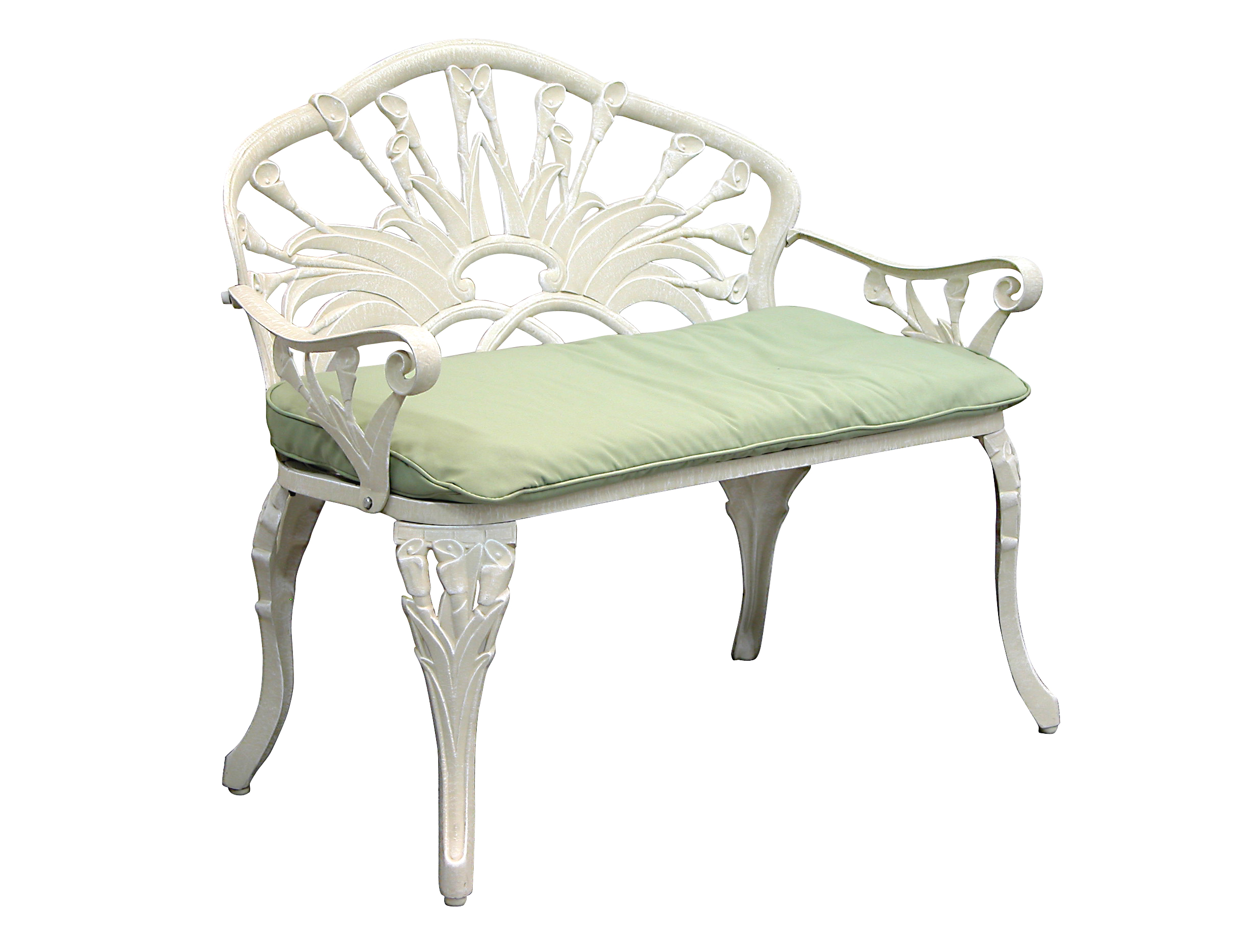Patio Furniture Bench Cast Aluminum Iron Loveseat Calla Lily
