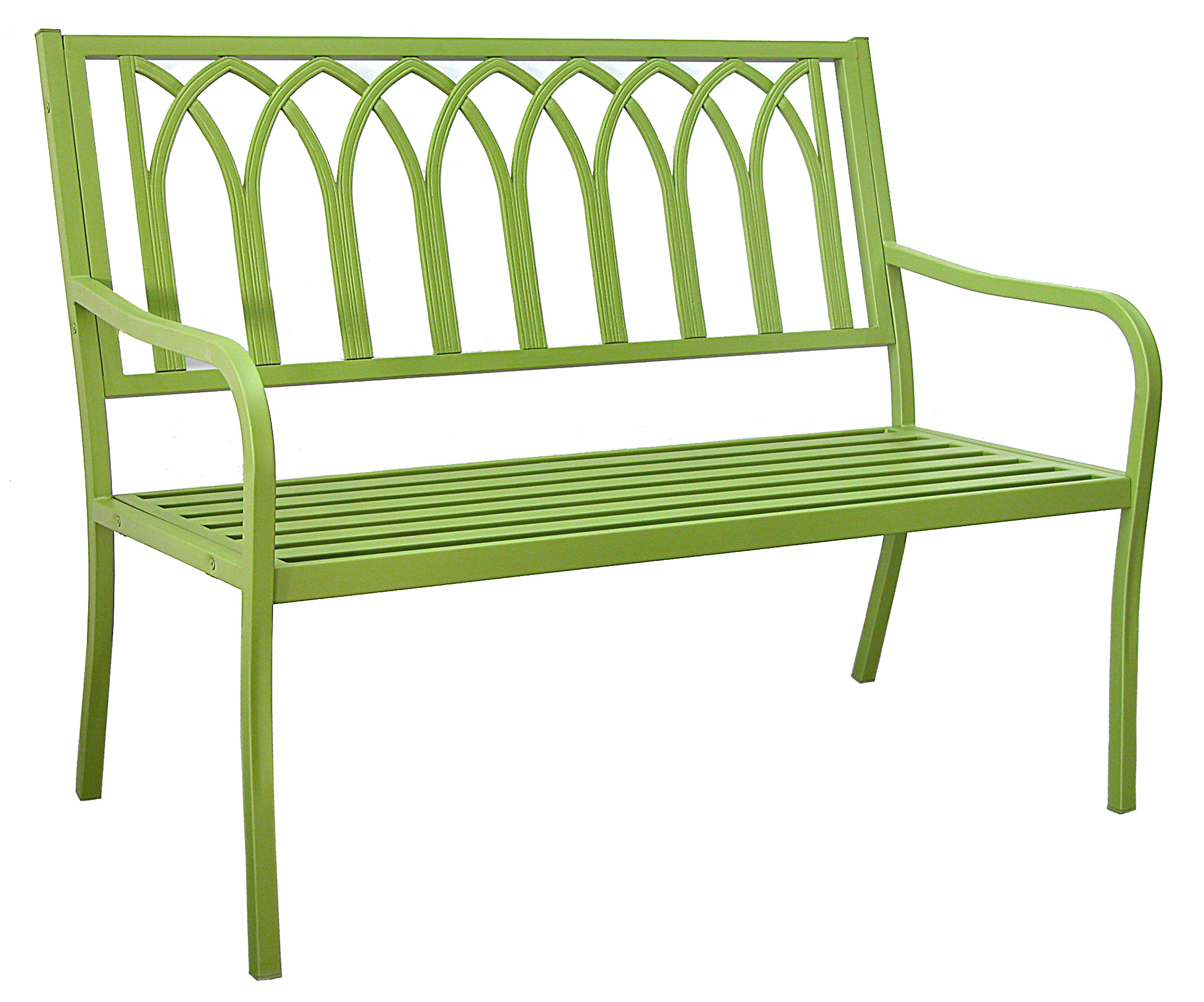 Patio furniture bench steel lakeside urban green for Metal benches for outdoors