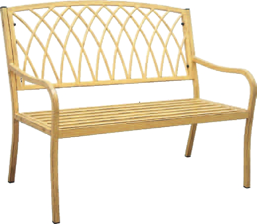 Patio furniture bench steel lancaster vintage yellow for Outdoor furniture yellow