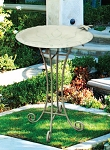 Birdbath Metal Floral with Wire Stand Vintage
