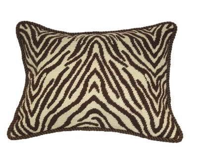 Animal Print Needlepoint Pillows : Needlepoint Pillow - Zebra (18