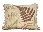 Needlepoint Pillow - Brown Fern (18
