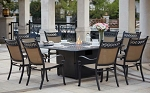 Patio Furniture Dining Set Cast Aluminum/Sling Chairs 64